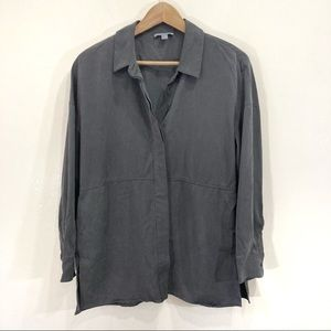 COS Oversized Button Up Blouse Dark Grey XS